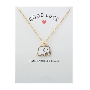 🐘Good Luck White Elephant Necklace with Card🐘